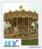 Outdoor amusement park ride double deck carousel