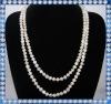 long design white potato pearl necklace