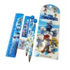 New smurf stationary set-pencil box,eraser,notebook and o'clock