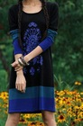 2012 Autumn knited contrast color O-Collar winter dresses