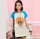 2012 Summer New Mushroom head pattern Sequin hit color stitching long casual T-shirt FQ2391