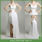 Stunning one shoulder beaded white chiffon evening dress