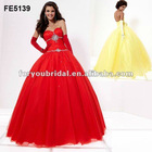 FE5139 Red Beautiful Strapless Beaded Tulle Prom Dresses 2013