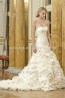Elegant Sweetheart Mermaid Gown Embellished with Crystal Detail and Skirt Full Ruffled Organza Lace Up Back Bridal Wedding Dress