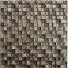 Maple walnut square glass mix stone mosaic tile