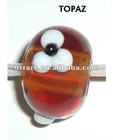 European Big Hole Topaz Round Lampwork Glass Loosely Beads