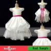 Selling best lovely organza catch bubble scalloped flower girl dresses