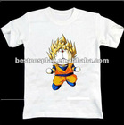 Cartoon Printing white100% cotton round collar dragon ball anime t shirt