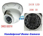 "CCTV 1/3"" CMOS 600TVL 24IR 20M IR Range Vandalproof Dome Camera Home Security free shipping china post"