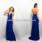 Sparkling Plunging Halter Flowy Skirt Low Back Evening Dress