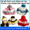 Girl gift Warm wool Winter ski Cap Women Lady Braided Bea Beanie Hat