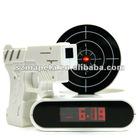 Novelty infrared gun shooting alarm clock,factory direct sale