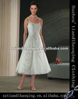 A-Line straps beading embroidery lace paillette tea-length chiffon bridal gowns