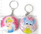 Cartoon round tinplate case with keyring