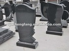 natural black granite tombstone design with carving