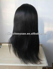 Top quality Black silky straight wave indian human remy hair full lace wigs