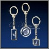 Laser engraved crystal glass keychain ring ,promotional gift