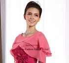 UJ11183Pink chiffon jacket with round neckline, with frill edge,2012 new style wrap, hot sale style