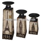 Antique Marketable Sets Wooden Candleholder