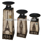 Antique Marketable Sets Wooden Candleholder