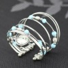 fashion elegant seed bead multistrand silver plated arc-shape quartz bracelets watch