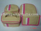 a set of knit material cosmetic bags with zip
