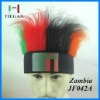 Zambia national flag color football sports fans headband wig