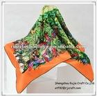 "23"" New fashion colorful square flower bandanas silk scarf"