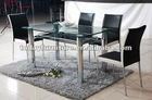 tempered glass dining table and PU dining chair