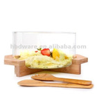 Glass Salad Bowl with spoon & fork