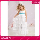 AZ0057 Floor length Square neck Strap Ribbon A-Line kids fashion dresses pictures
