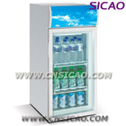 80L vertical beverage dispaly energy drink refrigerator with canopy for can , store soft cold drink fridge with light on top