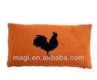 Antique Orange Linen Pillow With Rooster
