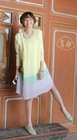 Wholesale Cheap Fashion Korean Style Contrast Color Long Sleeve Ice Cream Rainbow Pleated Dress (1207047)