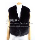 100% real fox fur vest waistcoat, high-grade whole skin fur