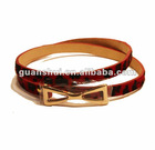 Red horse hair leather belt with golden bow buckle