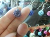 hook earring , crystal pave ball , color change crystal earrings