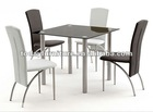 tempered glass dining table and leather dining chair/dining set