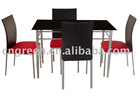 Tempered glass Metal frame dining table sets