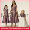 Hot sale tea-length detachable short sleeve jacket bridesmaid dresses light purple