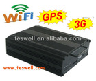Both SD Card & Hard Disk DVR Veicular 04 canais 100/120 Fps. H264 3G/Wi Fi/ GPS Optional