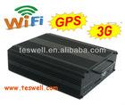 Both SD Card & Hard Disk DVR Veicular 04 canais 100/120 Fps. H264 3G/Wi Fi/ GPS Optional