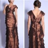 New In Trend A-line V-neck Layered Brown Satin Mother Evening Dress