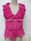fashion Lady Short Sleeve blouse 2012 chiffon OEM China maker