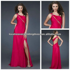 Utterly Dream One-shoulder Beaded Hot Pink Chiffon A-line Designer Prom Dress 2012 Long