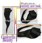 Cinderella beauty 100% virgin brazilian human hair extension ,remy hair,natural straight,3pcs/lot,1b black color (95-100g/pc)