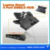 USB 4 HUB+Cooler Cooling Pad 3 Fans For Laptop Notebook