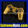 Polished Chrome Gold Replacement Housing/Shell For PS3 Dualshock 3 Controller With Blue Inserts