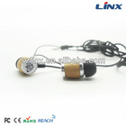 fashionable wood earphones and headphone, in-ear security earphone