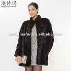 High fashion design genuine dark coffee mink fur coat ,whole mink coat